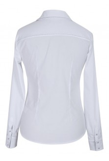 Biała koszula wizytowa z granatowym kołnierzykiem LISA