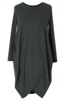 Grafitowa tunika/ sukienka z długim rękawem LUCY