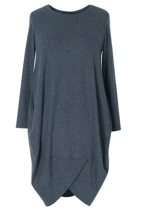 Tunika/ sukienka z długim rękawem LUCY - stalowy szary