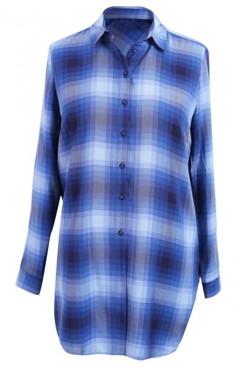 Długa koszula-tunika w niebieską kratę - SHEILA