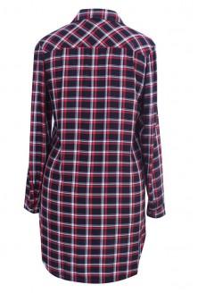 Długa koszula-tunika w drobną czarno-czerwoną kratę - SHEILA