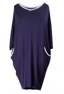 Granatowa sukienka z lamówką LILIAN