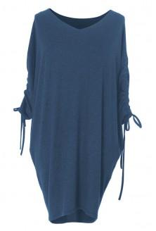 Luźna sukienka ze ściąganym rękawem - ESME - kolor JEANSOWY