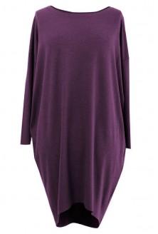Sukienka oversize z długim rękawem - SUSAN 2 obreżyna-fiolet