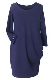Granatowa sukienka z marszczeniami na boku - CLARA