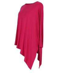 Wiśniowa skośna bluzka CATRINE z długim rękawem