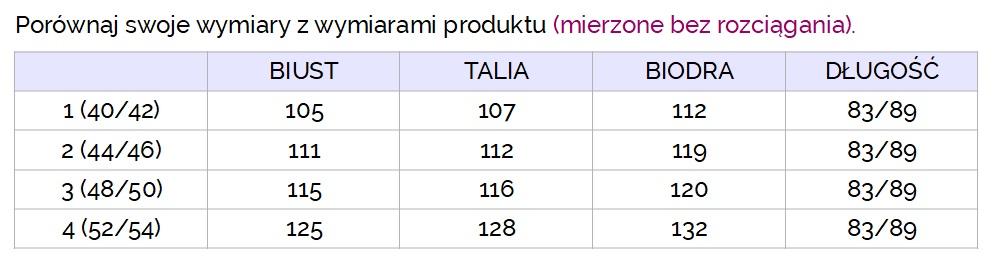 różowa bluza lucette - tabelka rozmiarów