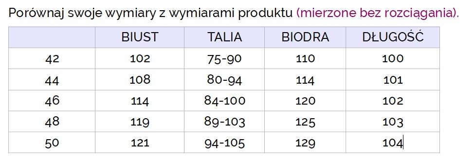 Tabela wymiarów sukienka Adelita