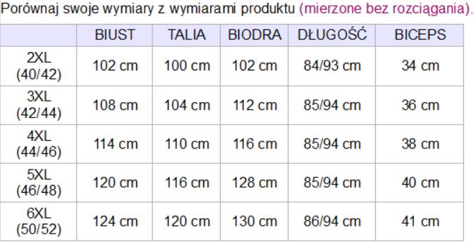 tabela wymiarów kurtka scarlett